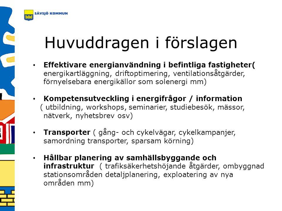 Huvuddragen i förslagen Effektivare energianvändning i befintliga fastigheter( energikartläggning, driftoptimering, ventilationsåtgärder, förnyelsebar