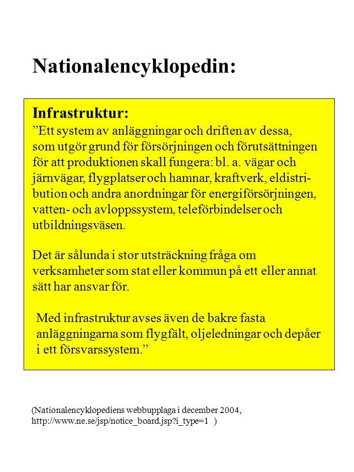 Nationalencyklopedin: Infrastruktur: Ett system av anläggningar och driften av dessa, som utgör grund för försörjningen och förutsättningen för att produktionen skall fungera: bl.