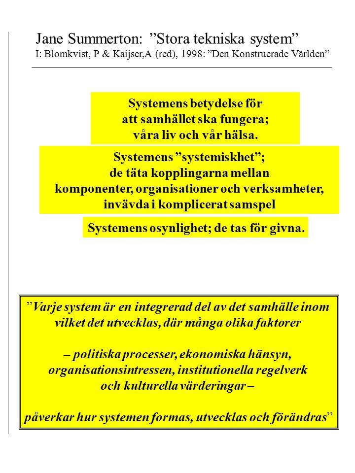 Jane Summerton: Stora tekniska system I: Blomkvist, P & Kaijser,A (red), 1998: Den Konstruerade Världen Systemens betydelse för att samhället ska fungera; våra liv och vår hälsa.