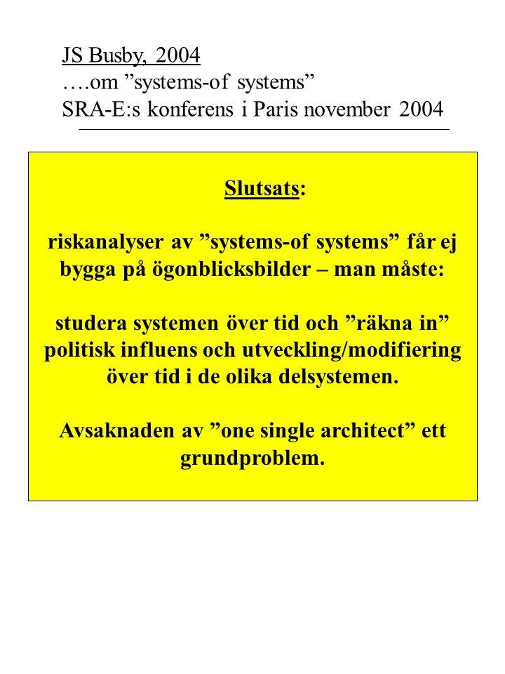 JS Busby, 2004 ….om systems-of systems SRA-E:s konferens i Paris november 2004 Slutsats: riskanalyser av systems-of systems får ej bygga på ögonblicksbilder – man måste: studera systemen över tid och räkna in politisk influens och utveckling/modifiering över tid i de olika delsystemen.