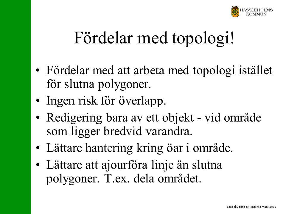 Stadsbyggnadskontoret mars 2009 Fördelar med topologi.