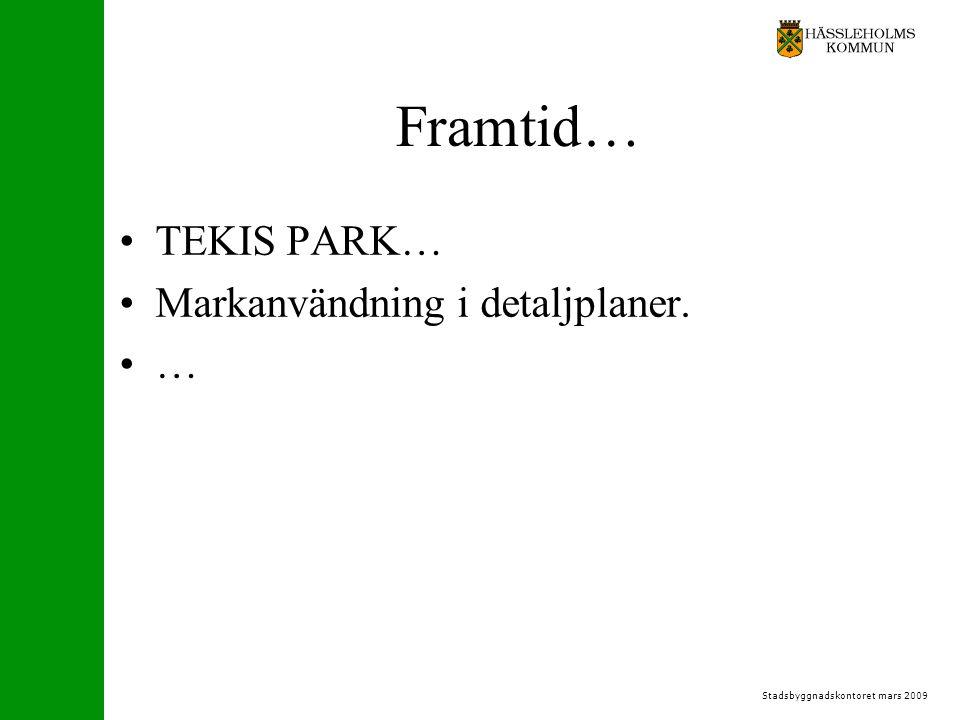 Stadsbyggnadskontoret mars 2009 Framtid… TEKIS PARK… Markanvändning i detaljplaner. …