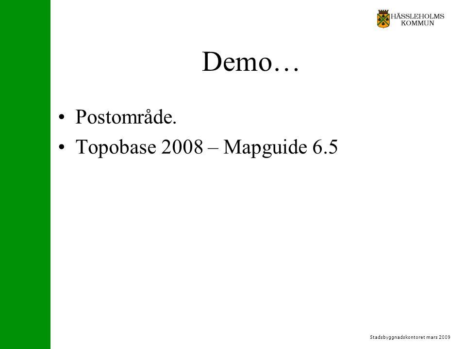 Stadsbyggnadskontoret mars 2009 Demo… Postområde. Topobase 2008 – Mapguide 6.5
