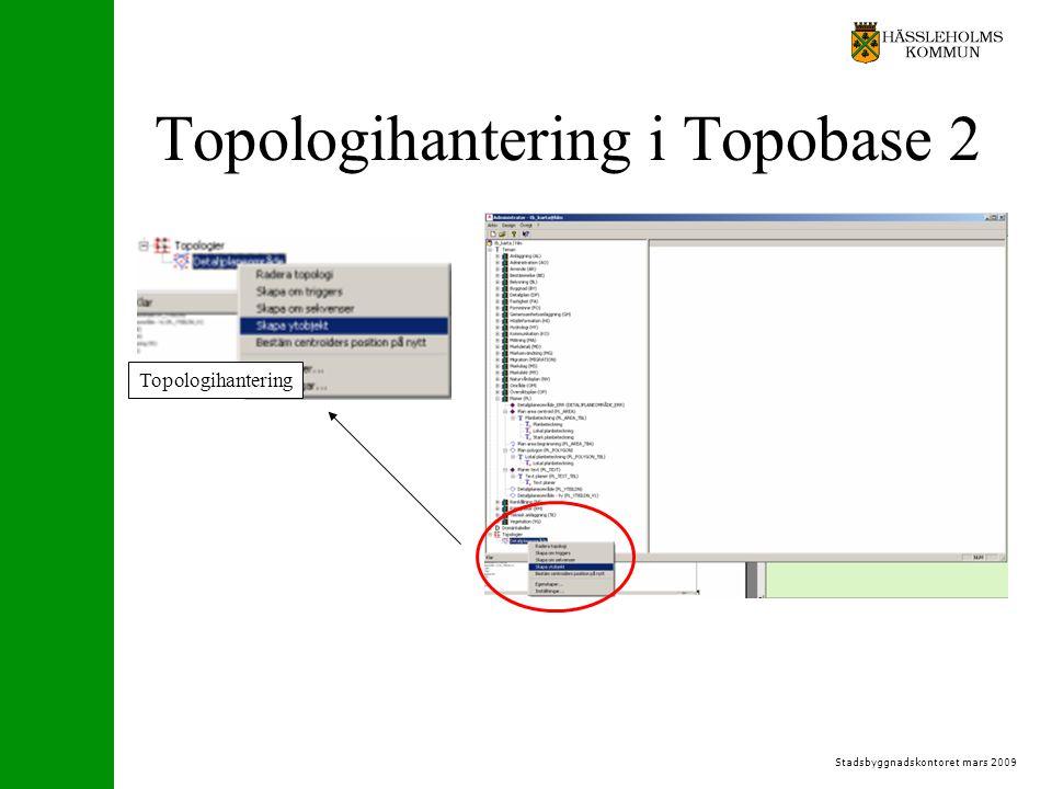 Stadsbyggnadskontoret mars 2009 Topologihantering i Topobase 2 Topologihantering