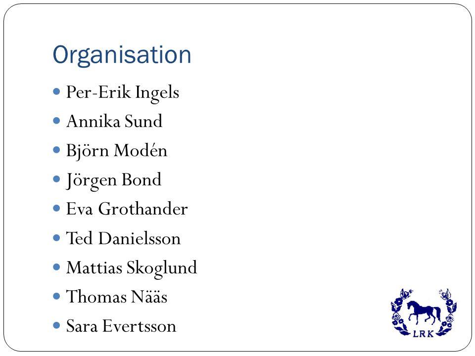 Organisation Per-Erik Ingels Annika Sund Björn Modén Jörgen Bond Eva Grothander Ted Danielsson Mattias Skoglund Thomas Nääs Sara Evertsson