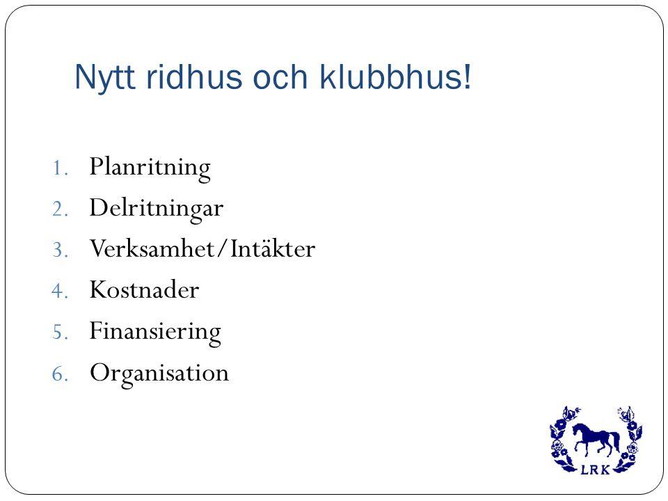 Nytt ridhus och klubbhus! 1. Planritning 2. Delritningar 3. Verksamhet/Intäkter 4. Kostnader 5. Finansiering 6. Organisation
