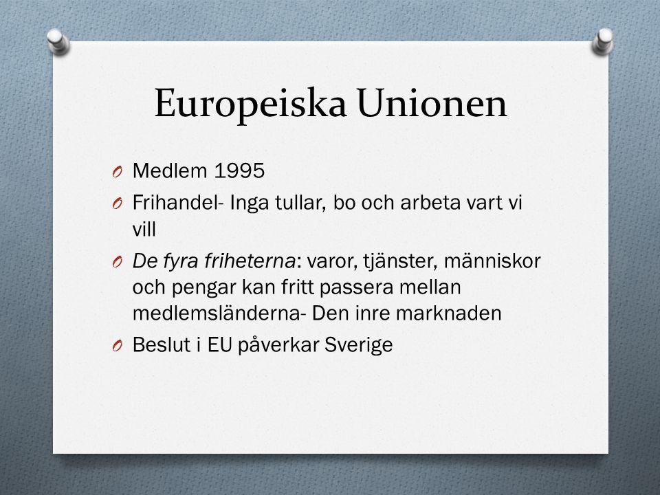Europeiska Unionen O Medlem 1995 O Frihandel- Inga tullar, bo och arbeta vart vi vill O De fyra friheterna: varor, tjänster, människor och pengar kan