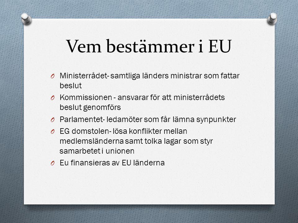Vem bestämmer i EU O Ministerrådet- samtliga länders ministrar som fattar beslut O Kommissionen - ansvarar för att ministerrådets beslut genomförs O P