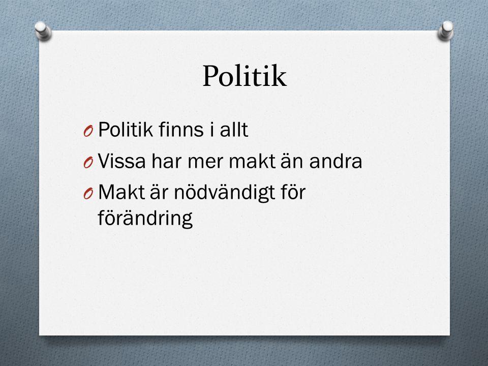 Politik O Politik finns i allt O Vissa har mer makt än andra O Makt är nödvändigt för förändring