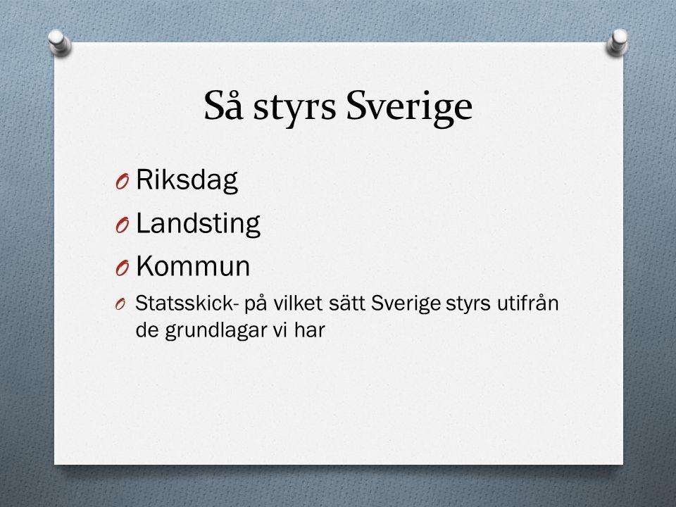 Så styrs Sverige O Riksdag O Landsting O Kommun O Statsskick- på vilket sätt Sverige styrs utifrån de grundlagar vi har