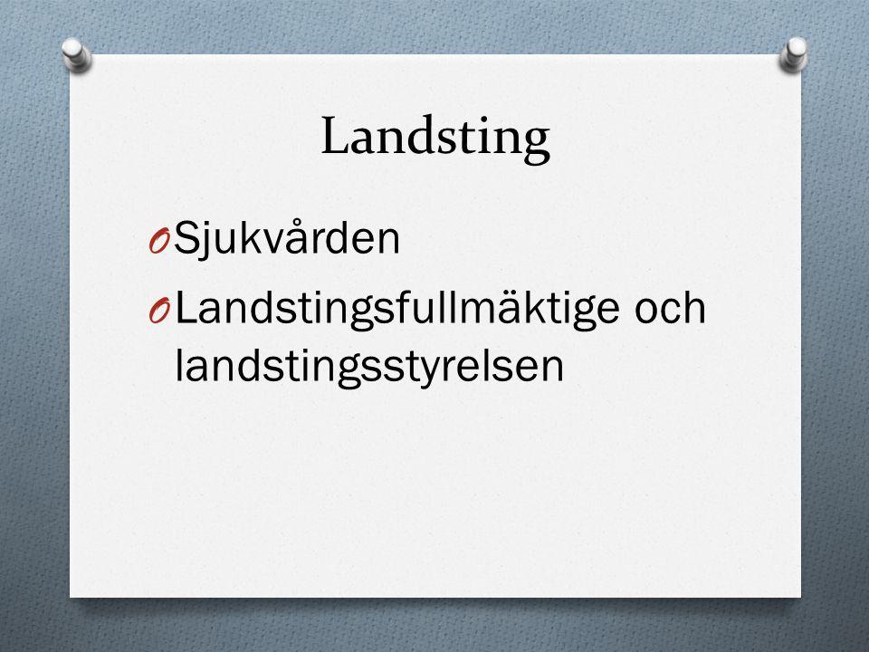Landsting O Sjukvården O Landstingsfullmäktige och landstingsstyrelsen