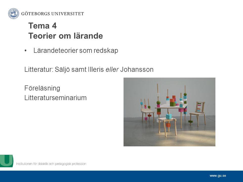 www.gu.se Lärandeteorier som redskap Litteratur: Säljö samt Illeris eller Johansson Föreläsning Litteraturseminarium Tema 4 Teorier om lärande