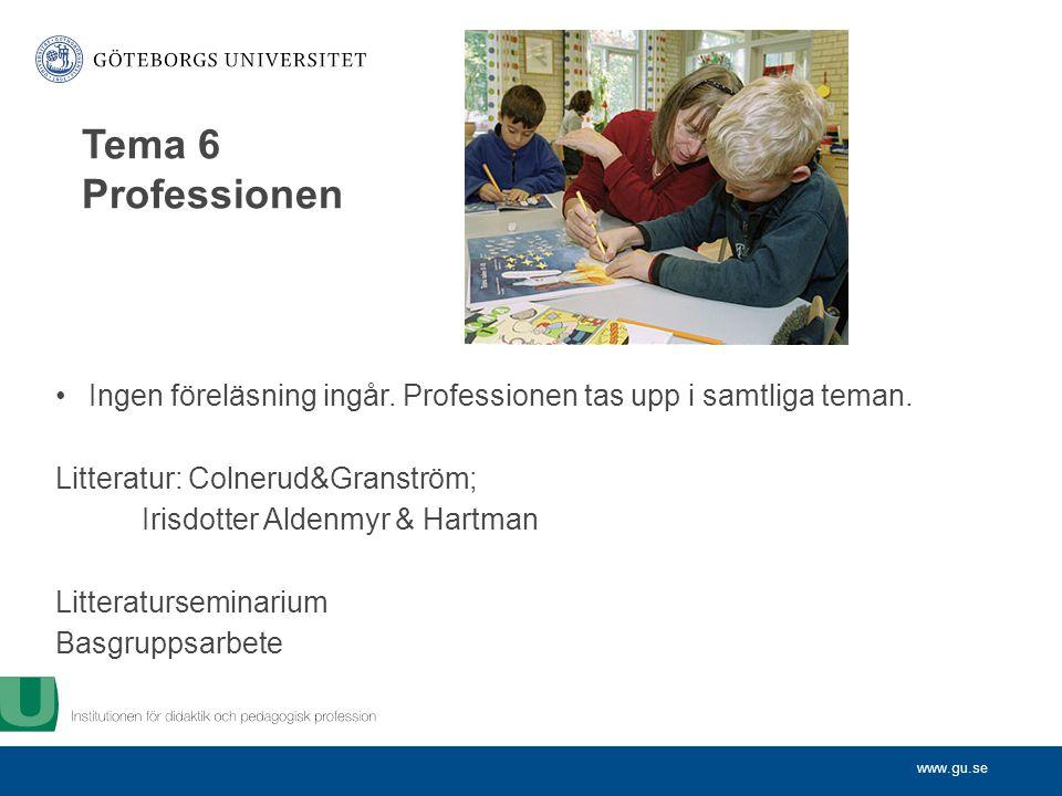 www.gu.se Ingen föreläsning ingår. Professionen tas upp i samtliga teman.