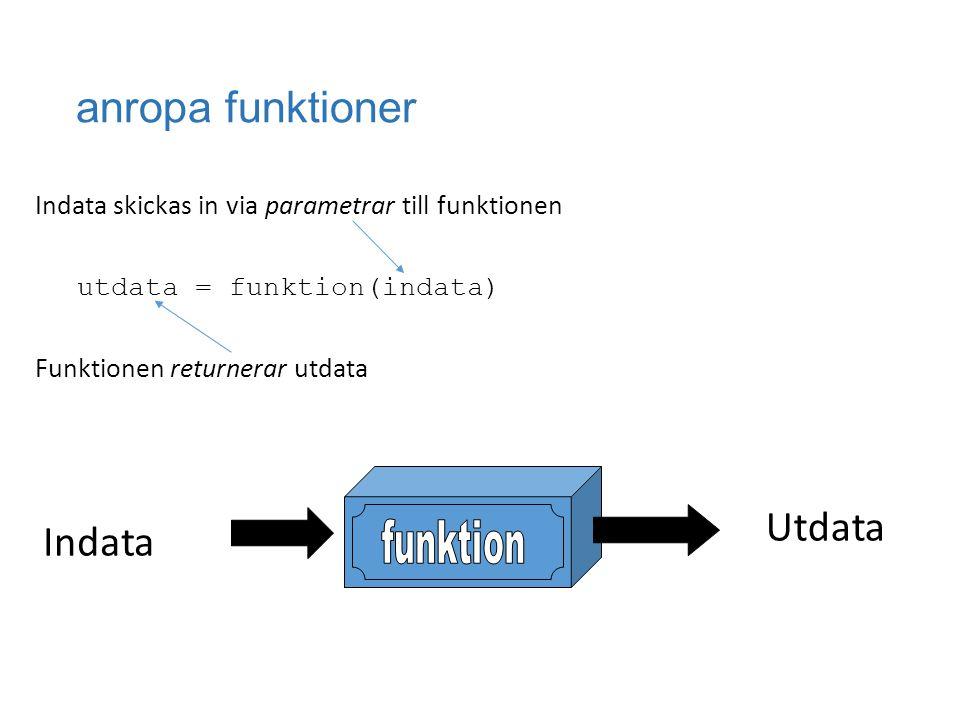 anropa funktioner Indata skickas in via parametrar till funktionen utdata = funktion(indata) Funktionen returnerar utdata Indata Utdata