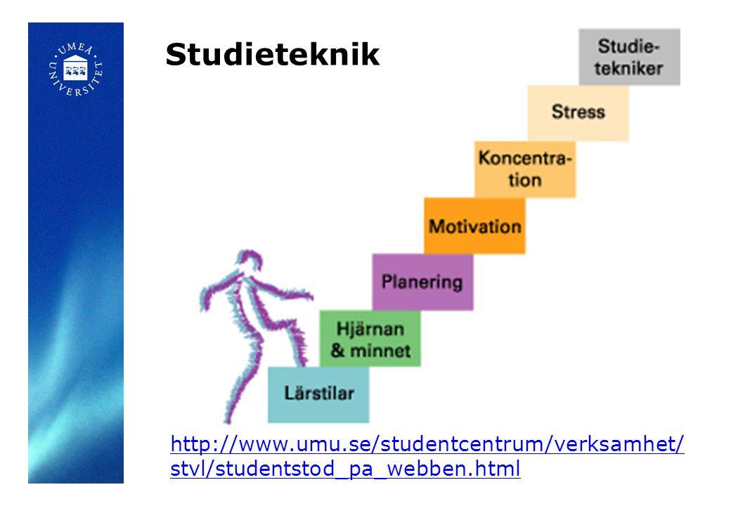 Studieteknik http://www.umu.se/studentcentrum/verksamhet/ stvl/studentstod_pa_webben.html