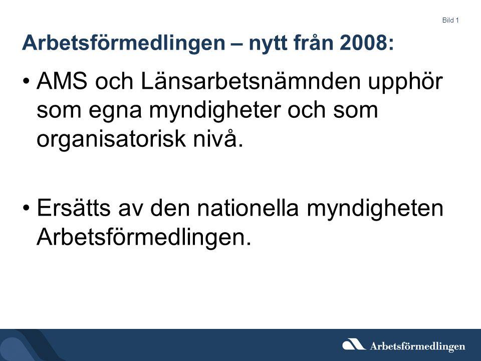 Bild 1 Arbetsförmedlingen – nytt från 2008: AMS och Länsarbetsnämnden upphör som egna myndigheter och som organisatorisk nivå.