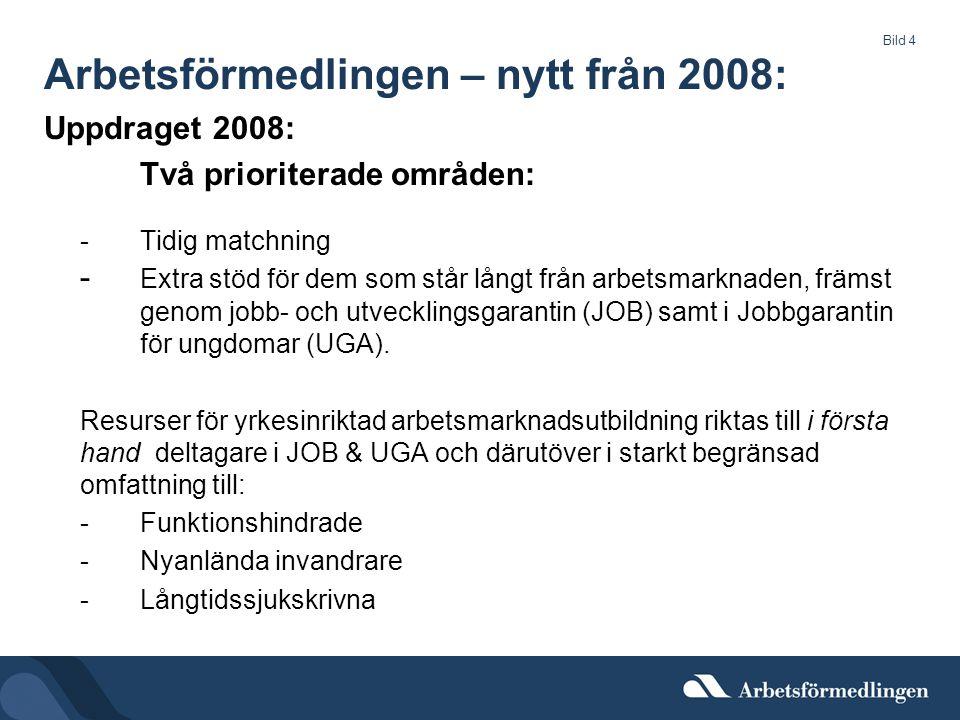 Bild 4 Arbetsförmedlingen – nytt från 2008: Uppdraget 2008: Två prioriterade områden: -Tidig matchning - Extra stöd för dem som står långt från arbetsmarknaden, främst genom jobb- och utvecklingsgarantin (JOB) samt i Jobbgarantin för ungdomar (UGA).