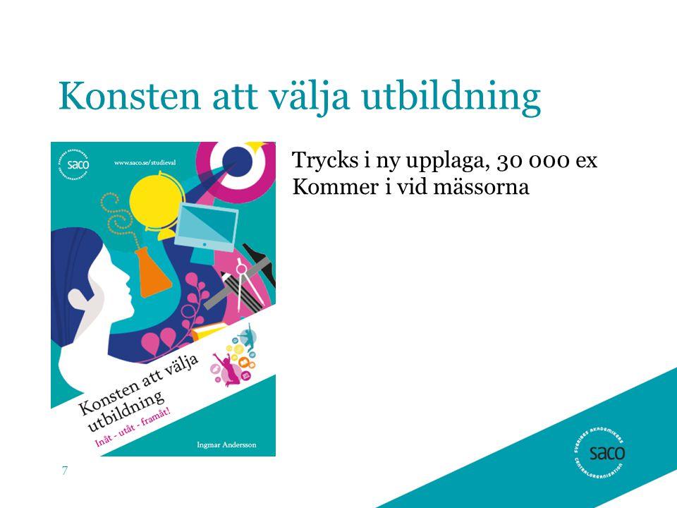 Konsten att välja utbildning 7 Trycks i ny upplaga, 30 000 ex Kommer i vid mässorna