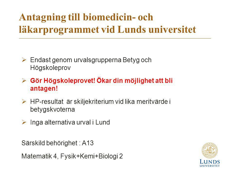Antagning till biomedicin- och läkarprogrammet vid Lunds universitet  Endast genom urvalsgrupperna Betyg och Högskoleprov  Gör Högskoleprovet! Ökar