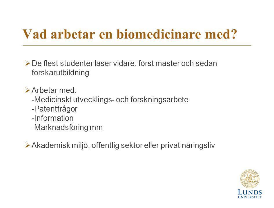 Vad arbetar en biomedicinare med?  De flest studenter läser vidare: först master och sedan forskarutbildning  Arbetar med: -Medicinskt utvecklings-