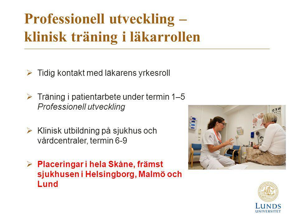 Professionell utveckling – klinisk träning i läkarrollen  Tidig kontakt med läkarens yrkesroll  Träning i patientarbete under termin 1–5 Professione
