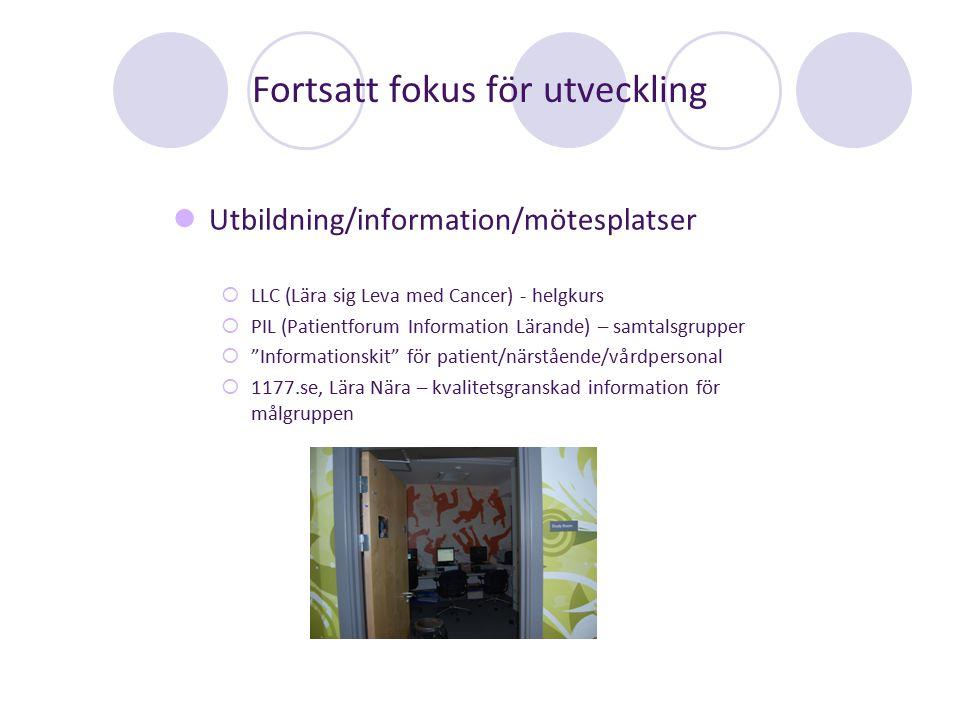 Fortsatt fokus för utveckling Utbildning/information/mötesplatser  LLC (Lära sig Leva med Cancer) - helgkurs  PIL (Patientforum Information Lärande)