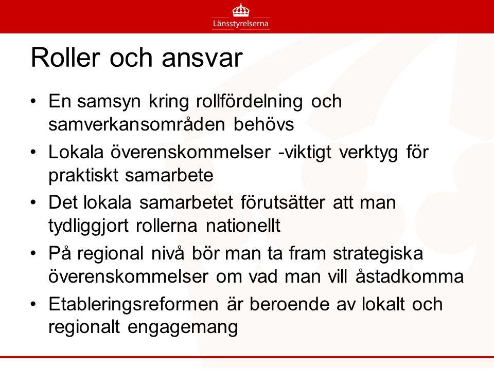 Roller och ansvar En samsyn kring rollfördelning och samverkansområden behövs Lokala överenskommelser -viktigt verktyg för praktiskt samarbete Det lok