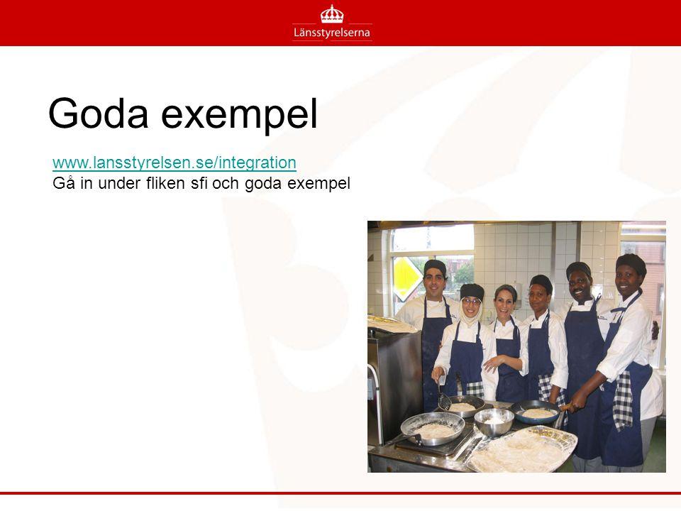 Goda exempel www.lansstyrelsen.se/integration Gå in under fliken sfi och goda exempel