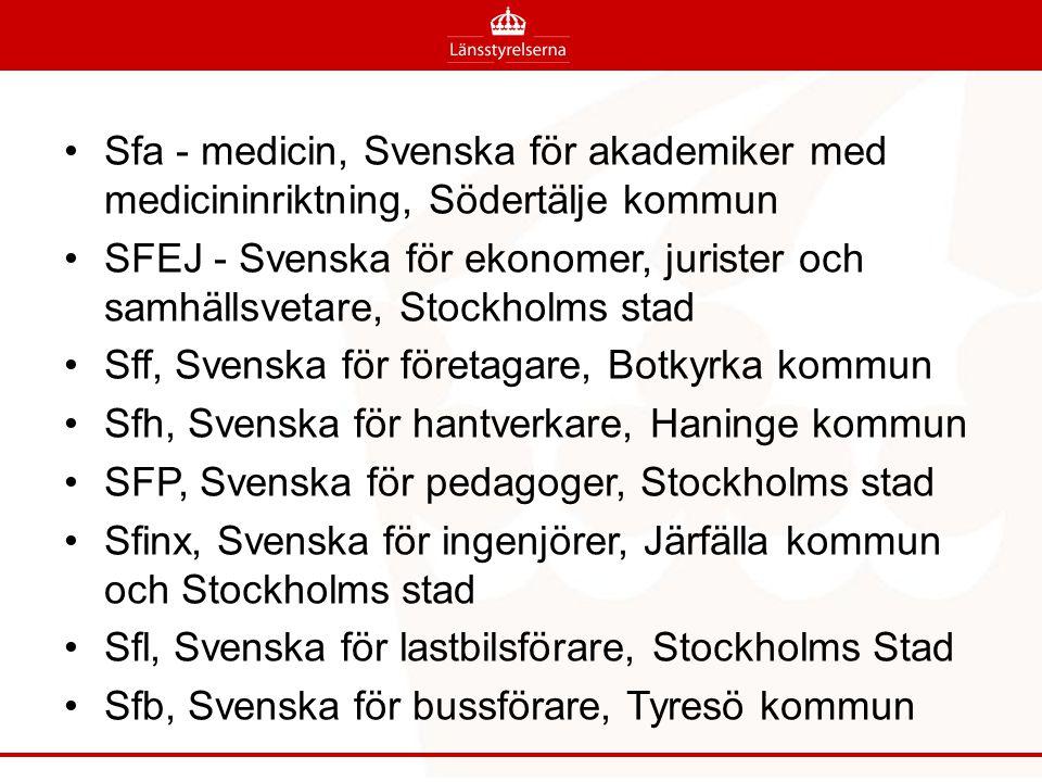 Sfa - medicin, Svenska för akademiker med medicininriktning, Södertälje kommun SFEJ - Svenska för ekonomer, jurister och samhällsvetare, Stockholms st