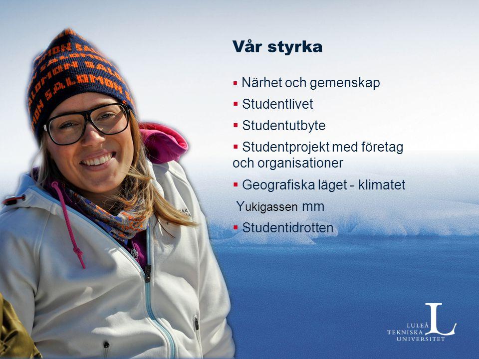 Vår styrka  Närhet och gemenskap  Studentlivet  Studentutbyte  Studentprojekt med företag och organisationer  Geografiska läget - klimatet Y ukig