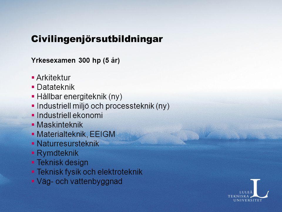 Civilingenjörsutbildningar Yrkesexamen 300 hp (5 år)  Arkitektur  Datateknik  Hållbar energiteknik (ny)  Industriell miljö och processteknik (ny)