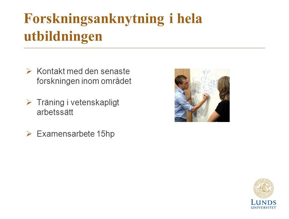 Forskningsanknytning i hela utbildningen  Kontakt med den senaste forskningen inom området  Träning i vetenskapligt arbetssätt  Examensarbete 15hp