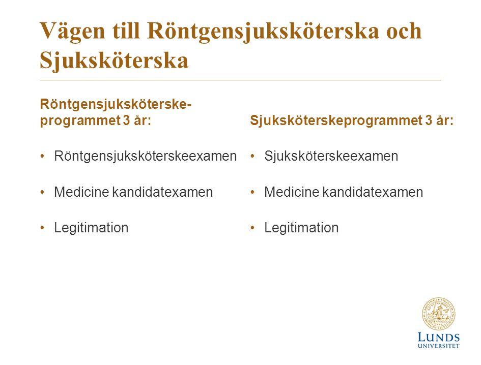 Vägen till Röntgensjuksköterska och Sjuksköterska Röntgensjuksköterske- programmet 3 år: Röntgensjuksköterskeexamen Medicine kandidatexamen Legitimation Sjuksköterskeprogrammet 3 år: Sjuksköterskeexamen Medicine kandidatexamen Legitimation
