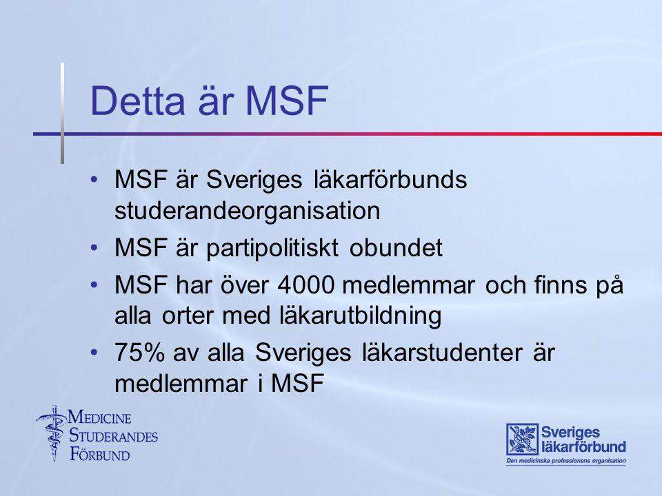 Detta är MSF MSF är Sveriges läkarförbunds studerandeorganisation MSF är partipolitiskt obundet MSF har över 4000 medlemmar och finns på alla orter med läkarutbildning 75% av alla Sveriges läkarstudenter är medlemmar i MSF