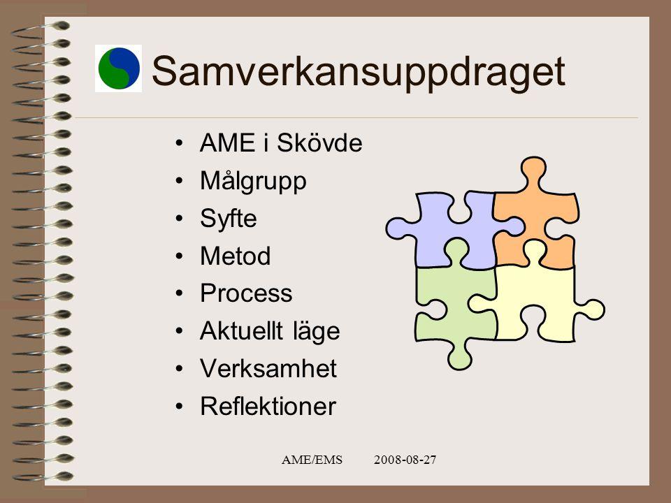 AME/EMS 2008-08-27 Samverkansuppdraget AME i Skövde Målgrupp Syfte Metod Process Aktuellt läge Verksamhet Reflektioner