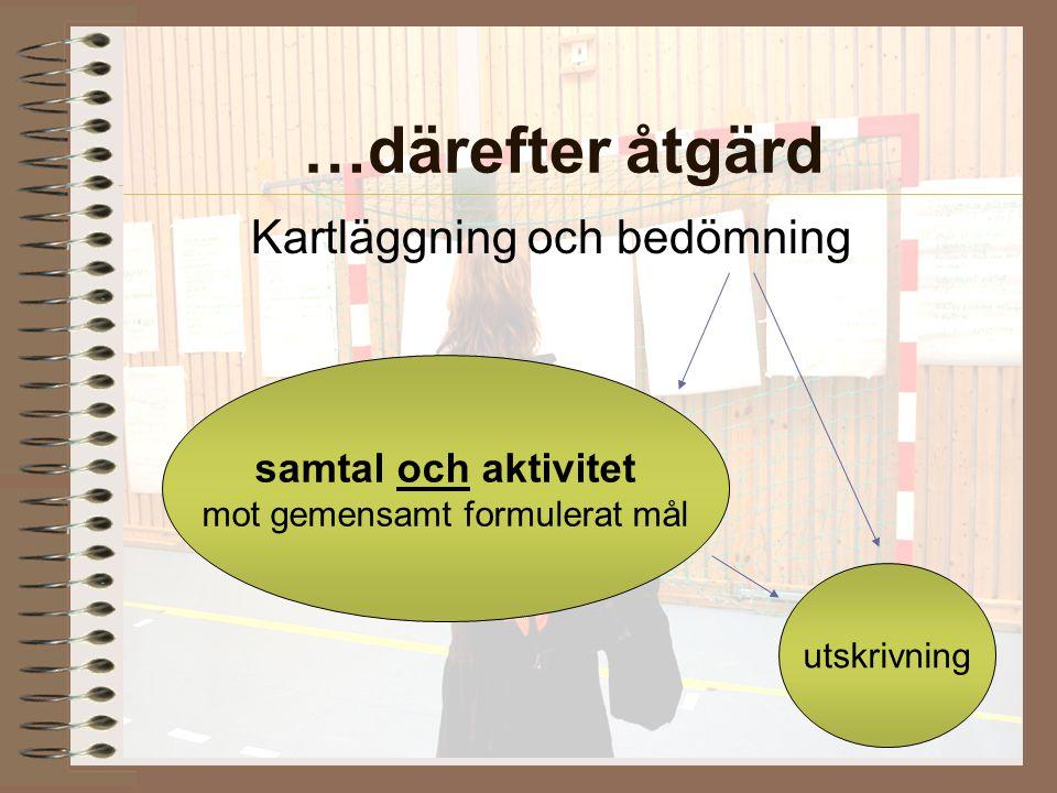 AME/EMS 2008-08-27 …därefter åtgärd Kartläggning och bedömning samtal och aktivitet mot gemensamt formulerat mål utskrivning