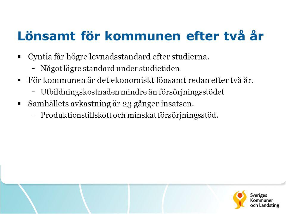 Lönsamt för kommunen efter två år  Cyntia får högre levnadsstandard efter studierna.
