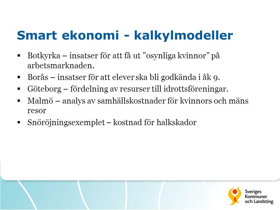 """Smart ekonomi - kalkylmodeller  Botkyrka – insatser för att få ut """"osynliga kvinnor"""" på arbetsmarknaden.  Borås – insatser för att elever ska bli go"""