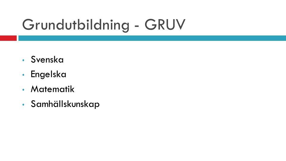 Grundutbildning - GRUV Svenska Engelska Matematik Samhällskunskap