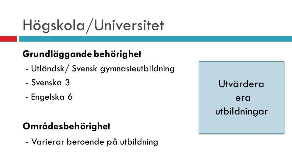 Högskola/Universitet Grundläggande behörighet - Utländsk/ Svensk gymnasieutbildning - Svenska 3 - Engelska 6 Områdesbehörighet - Varierar beroende på