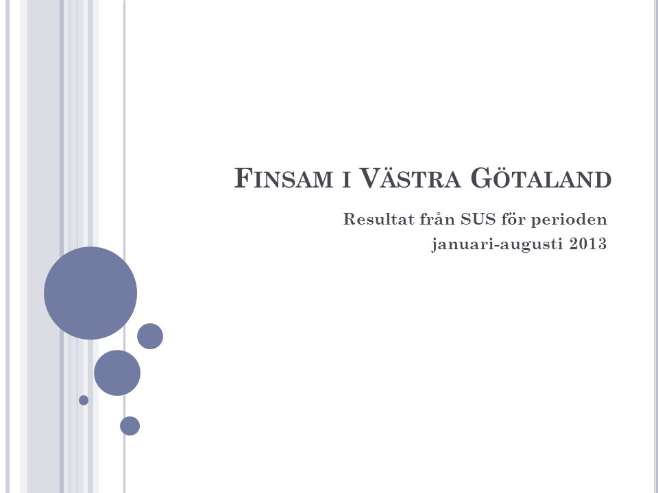 F INSAM I V ÄSTRA G ÖTALAND Resultat från SUS för perioden januari-augusti 2013