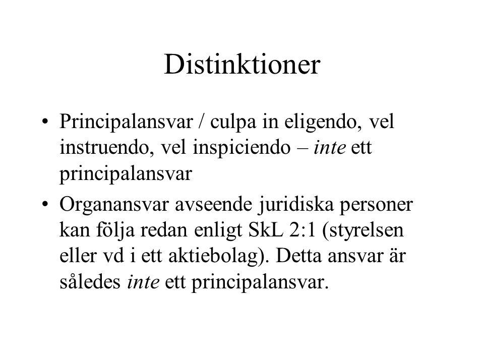 Distinktioner Principalansvar / culpa in eligendo, vel instruendo, vel inspiciendo – inte ett principalansvar Organansvar avseende juridiska personer kan följa redan enligt SkL 2:1 (styrelsen eller vd i ett aktiebolag).
