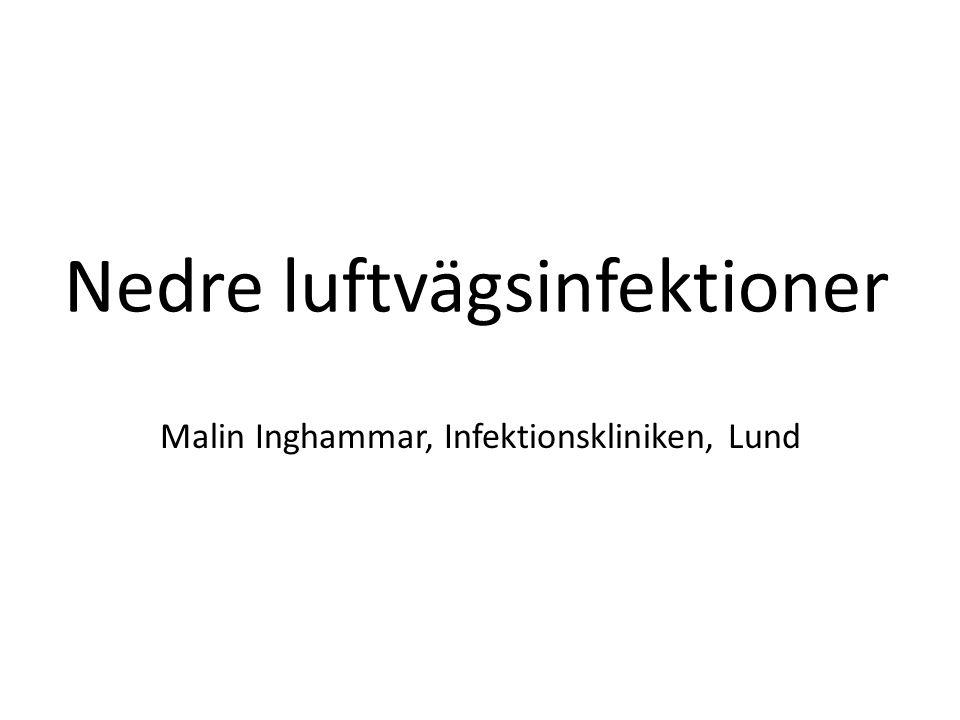 Definition 2015-03-27Malin Inghammar, Inf klin, Lund Pneumoni / Akut bronkit / Exacerbation av KOL Akut sjukdom med feber + hosta samt minst ett av följande: – sputumproduktion – dyspné – väsande andning – bröstsmärta