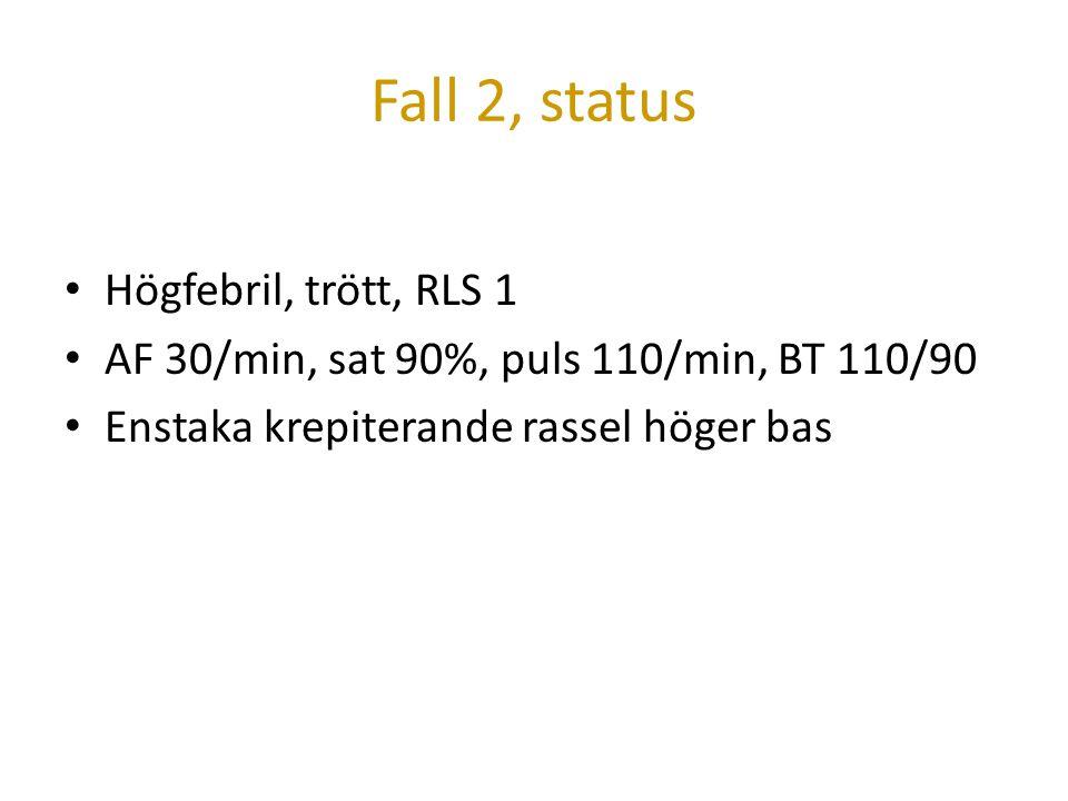Fall 2, status Högfebril, trött, RLS 1 AF 30/min, sat 90%, puls 110/min, BT 110/90 Enstaka krepiterande rassel höger bas