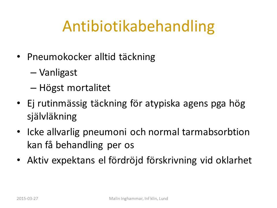 Antibiotikabehandling Pneumokocker alltid täckning – Vanligast – Högst mortalitet Ej rutinmässig täckning för atypiska agens pga hög självläkning Icke