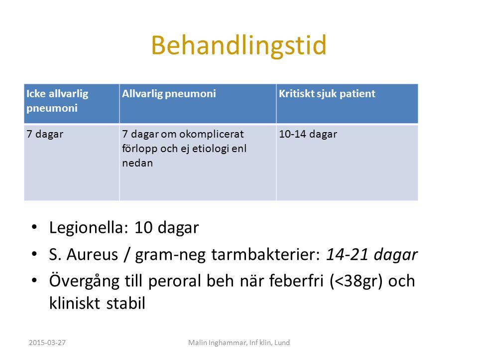 Behandlingstid Icke allvarlig pneumoni Allvarlig pneumoniKritiskt sjuk patient 7 dagar7 dagar om okomplicerat förlopp och ej etiologi enl nedan 10-14