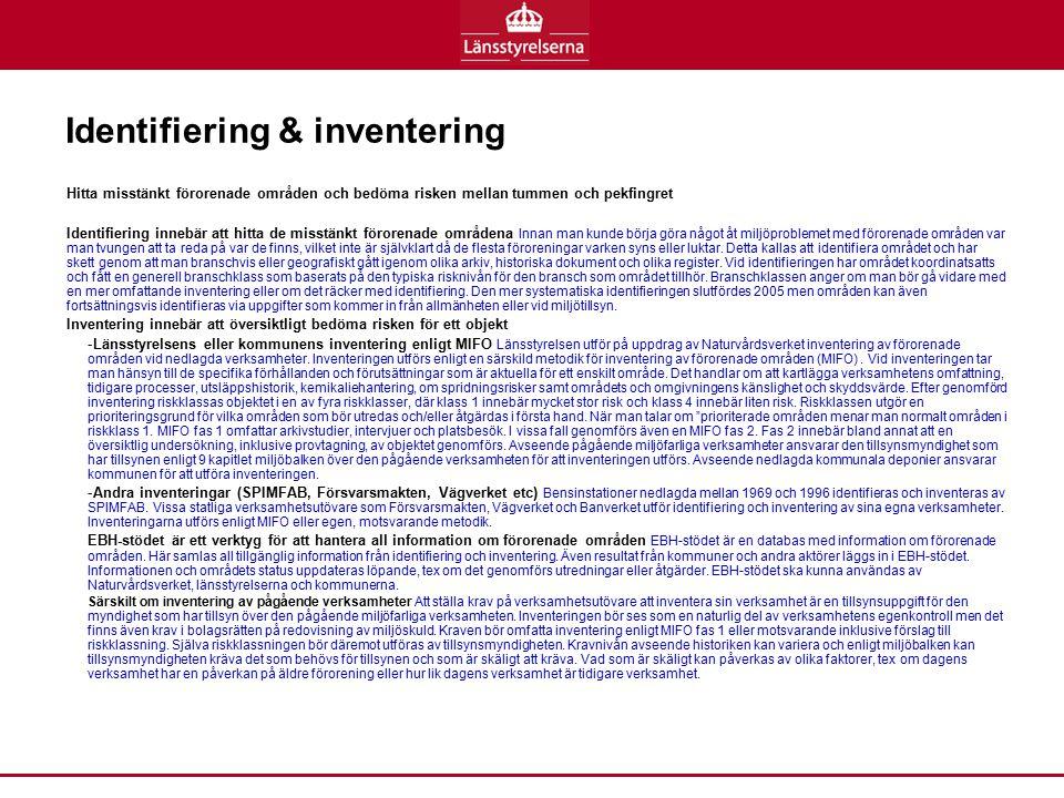 Identifiering & inventering Hitta misstänkt förorenade områden och bedöma risken mellan tummen och pekfingret Identifiering innebär att hitta de misst