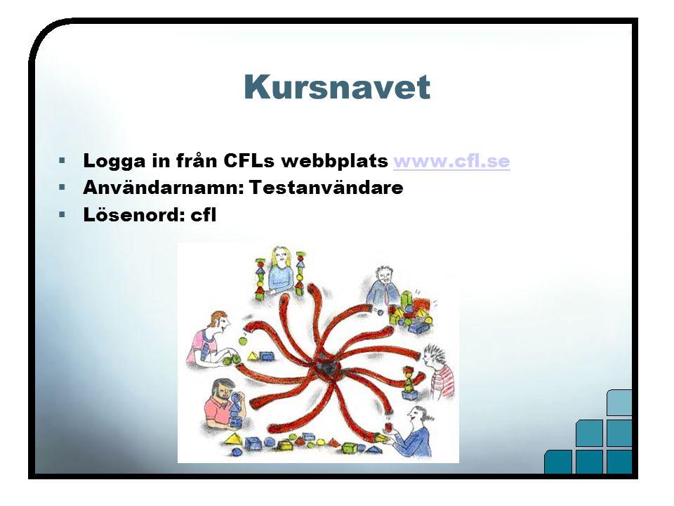 Kursnavet  Logga in från CFLs webbplats www.cfl.sewww.cfl.se  Användarnamn: Testanvändare  Lösenord: cfl