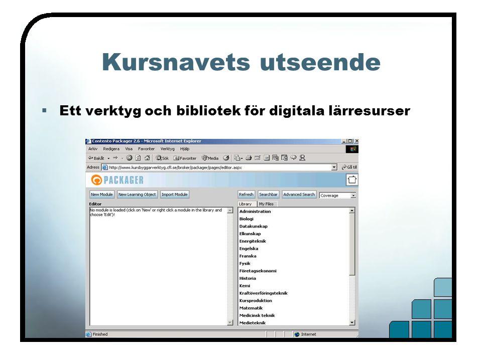 Kursnavets utseende  Ett verktyg och bibliotek för digitala lärresurser