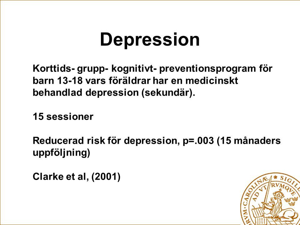 Depression Korttids- grupp- kognitivt- preventionsprogram för barn 13-18 vars föräldrar har en medicinskt behandlad depression (sekundär).